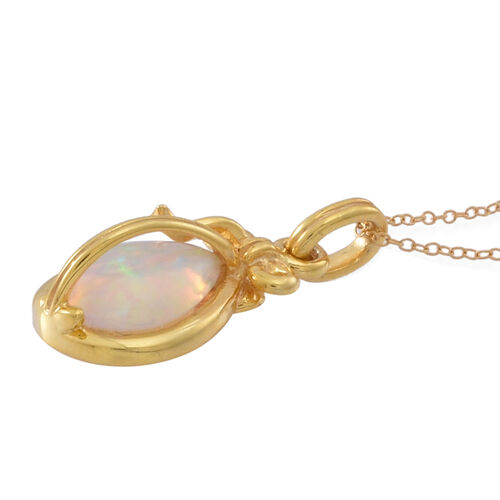 Ethiopian Welo Opal (Pear) Solitaire Pendant in With Chain in 14K Gold Overlay Sterling Silver 1.500 Ct.