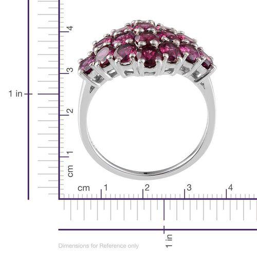 Orissa Rhodolite Garnet (Ovl) Cluster Ring in Platinum Overlay Sterling Silver 7.250 Ct.