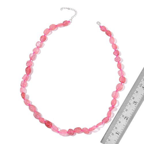 Hand Knotted Strawberry Quartz Necklace (Size 18 with 2 inch Extender) in Rhodium Plated Sterling Silver 135.000 Ct.