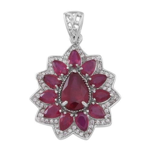 Limited Edition Designer Inspired African Ruby (Pear 4.00 Ct), White Zircon Pendant in Rhodium Plated Sterling Silver 11.000 Ct.
