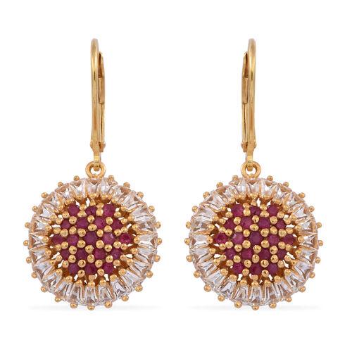 Burmese Ruby (Rnd), White Topaz Lever Back Earrings in 14K Gold Overlay Sterling Silver 4.500 Ct.