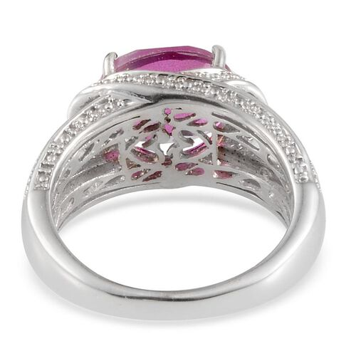 Radiant Orchid Quartz (Ovl 3.00 Ct), Diamond Ring in Platinum Overlay Sterling Silver 3.070 Ct.