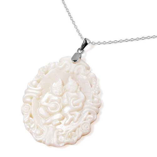 White Shell ZODIAC Gemini Pendant With Chain in Sterling Silver