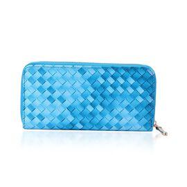 Turquoise Colour Weave Pattern Wallet (Size 20x10x2.5 Cm)