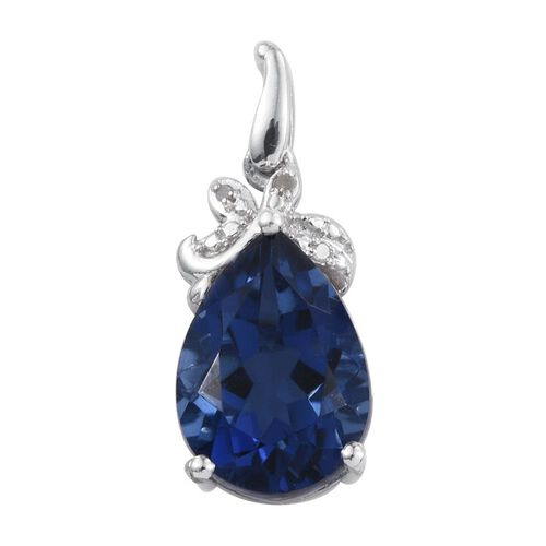 Ceylon Colour Quartz (Pear 5.75 Ct), Diamond Pendant in Platinum Overlay Sterling Silver 5.760 Ct.