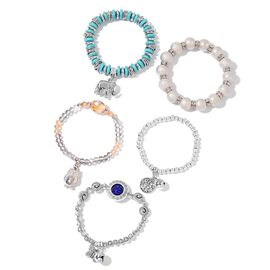 Set of 5- Blue Howlite, Simulated Grey and Champagne Colour Diamond, Blue and White Austrian Crystal Stretchable Elephant, Butterfly, Tree and Owl Charm Bracelet (Size 7) in Silver Tone