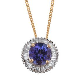ILIANA 18K Y Gold AAA Rare Tanzanite (Rnd 0.80 Ct), Diamond (SI/G-H) Pendant With Chain 1.000 Ct.