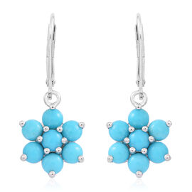 Arizona Sleeping Beauty Turquoise (Rnd) Floral Lever Back Earrings in Rhodium Plated Sterling Silver 2.500 Ct.