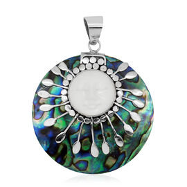 Princess Bali Collection OX Bone Carved Face (Rnd), Abalone Shell Pendant in Sterling Silver 41.700 Ct.