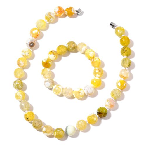 Very Rare Size Yellow Agate Necklace (Size 18) and Stretchable Bracelet (Size 7.5) in Silver Tone 724.000 Ct.