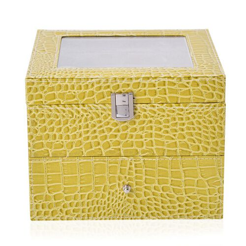 Dark Lime Colour Croc Embossed 2 Layer Watch Box with Glass (Size 20x20x16.5 Cm)