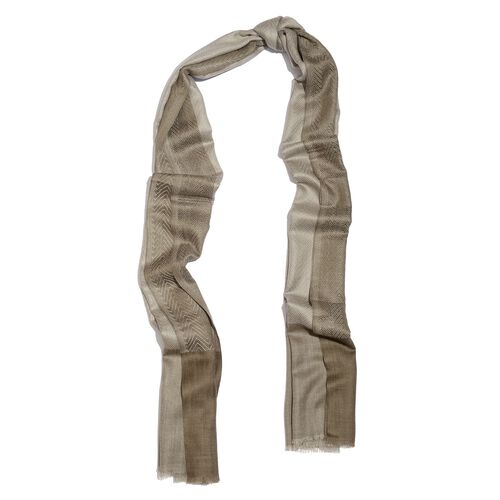100% Cashmere Wool Fishbone Pattern Grey Colour Scarf with Fringes (Size 200x70 Cm)