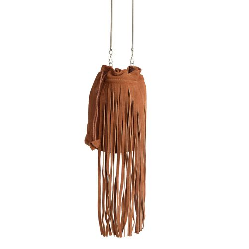 Genuine Leather Tan Colour Potli Bag with Long Fringes and Chain Strap (Size 21x20x9.5 Cm)