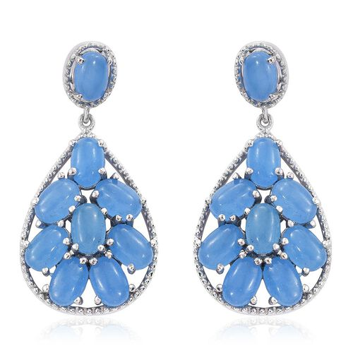 Blue Jade (Ovl) Earrings (with Push Back) in Platinum Overlay Sterling Silver 11.250 Ct.
