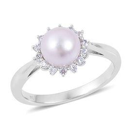 9K W Gold Japanese Akoya Pearl (Rnd), White Zircon Ring 3.150 Ct.