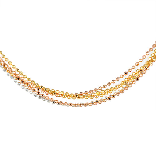 Close Out Deal Yellow, Rose Gold and Rhodium Plated Sterling Silver 5 Strand Bead Chain (Size 24), Silver wt 8.50 Gms.