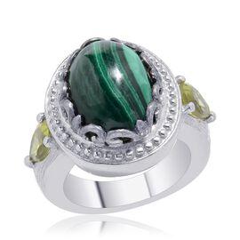 Malachite (Ovl 7.00 Ct), Hebei Peridot Ring in Platinum Bond 7.750 Ct.