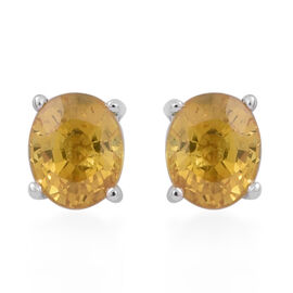 9K W Gold AA Yellow Sapphire (Ovl) Stud Earrings (with Push Back) 0.800 Ct.
