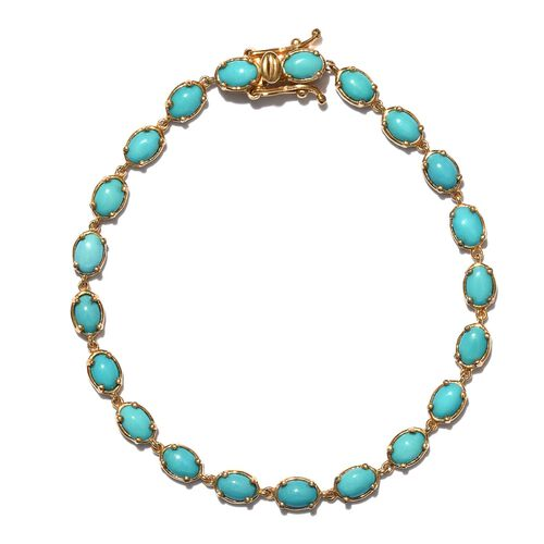 Arizona Sleeping Beauty Turquoise (Ovl) Bracelet (Size 7.5) in 14K Gold Overlay Sterling Silver 8.250 Ct.