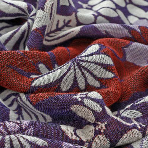 Multi Colour Floral Pattern Purple Colour Scarf (Size 170x70 Cm)