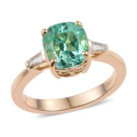ILIANA 18K Y Gold Boyaca Colombian Emerald (Cush 2.55 Ct), Diamond (SI/G-H) Ring 2.750 Ct.