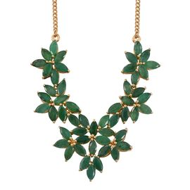 Kagem Zambian Emerald (Mrq) Floral Necklace (Size 18) in 14K Gold Overlay Sterling Silver 12.000 Ct.