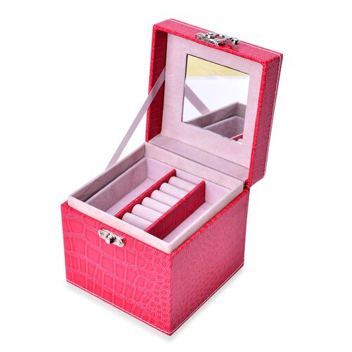 Rose Red Colour Croc Embossed 3 Layer Small Size Jewellery Box with Mirror inside (Size 12x12x12 Cm)
