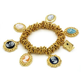 Multi Cameo Charm Stretchable Bracelet in Gold Tone