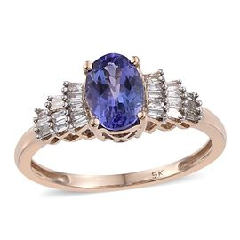 9K Y Gold AA Tanzanite (Ovl 0.85 Ct), Diamond (G-H, I3) Ring 1.000 Ct.