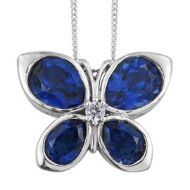 Ceylon Colour Quartz (Pear), Natural Cambodian Zircon Butterfly Pendant With Chain in Platinum Overlay Sterling Silver 8.000 Ct.