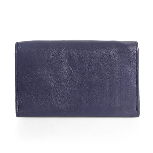 Genuine Leather RFID Blocker Purple Colour Ladies Purse (Size 15.5x8.5 Cm)