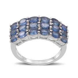Kanchanaburi Blue Sapphire (Ovl) Ring in Rhodium Plated Sterling Silver 3.500 Ct.