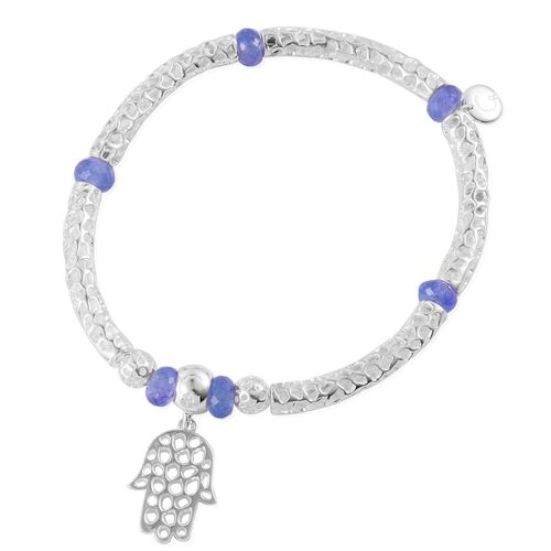 RACHEL GALLEY Sterling Silver Stranded Hand of Hamsa Bar Stretchable Bracelet with Tanzanite Beads (Size 8) 7.702 Ct., Silver wt 12.23 Gms.