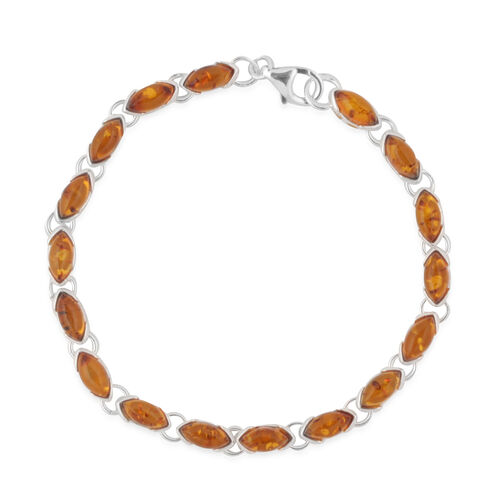 Multi Colour Baltic Amber (Mrq) Bracelet (Size 7.5) in Sterling Silver