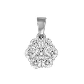 RHAPSODY 950 Platinum IGI Certified Diamond (Rnd 0.22 Ct) (VS/ E-F) 7 Stone Floral Pendant 1.000 Ct.