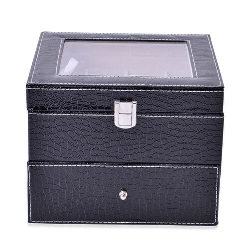 Black Colour Croc Embossed 2 Layer Watch - Jewellery Box with Glass (Size 20x20x16.5 Cm)