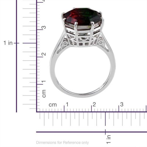 Tourmaline Colour Quartz (Octillion Cut) Solitaire Ring in Platinum Overlay Sterling Silver 6.500 Ct.