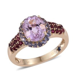 GP 9K Y Gold AAA Kunzite (Ovl 3.00 Ct), Kanchanaburi Blue Sapphire, Rubelite and Iolite Ring 3.800 Ct.