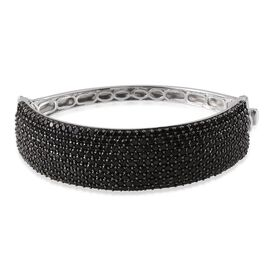 Boi Ploi Black Spinel (Rnd) Bangle (Size 7.5) in Platinum Overlay Sterling Silver 20.000 Ct.