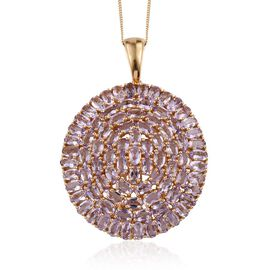 Rose De France Amethyst (Ovl) Cluster Pendant With Chain (Size 30) in 14K Gold Overlay Sterling Silver 15.500 Ct.