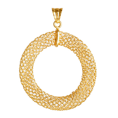 Vicenza Collection 14K Gold Overlay Sterling Silver Circle Mesh Pendant, Silver wt 3.20 Gms.