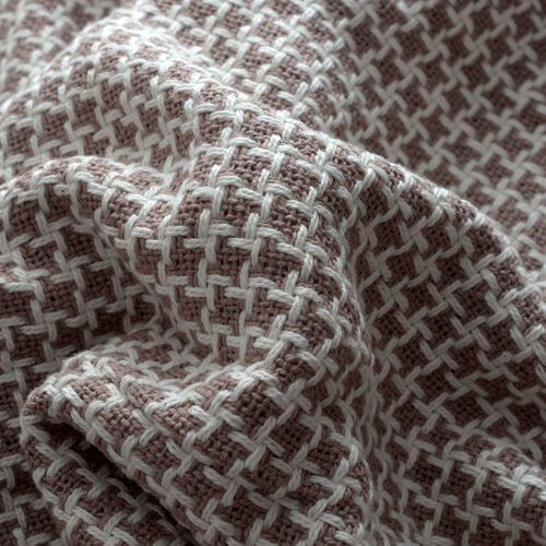 100% Cotton Houndstooth Pattern Creme and White Colour Plaid with Fringes (Size 150x125 Cm)