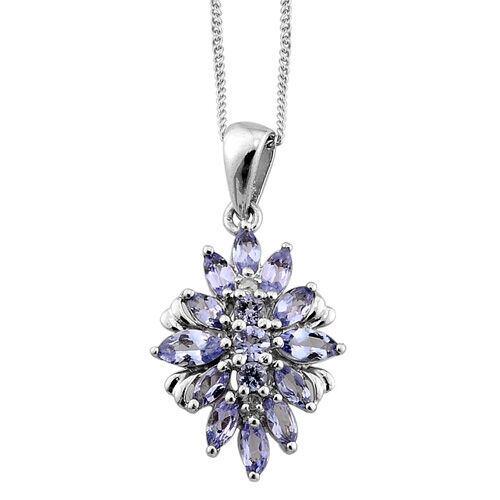 Tanzanite and Diamond Platinum Overlay Sterling Silver Pendant With Chain 0.886 Ct.