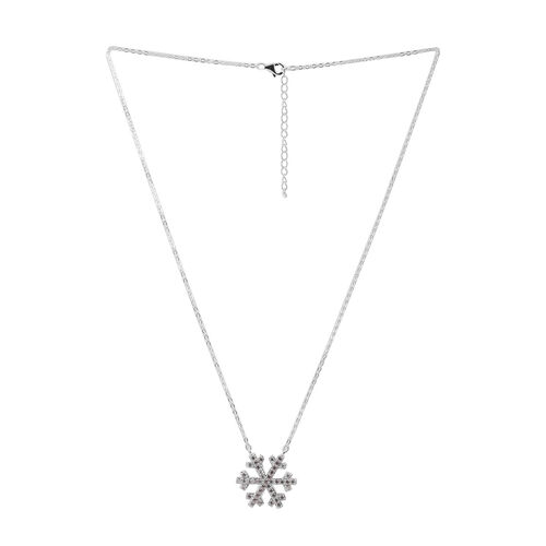 ELANZA AAA Simulated Diamond (Rnd) Snowflake Pendant With Chain in Rhodium Plated Sterling Silver