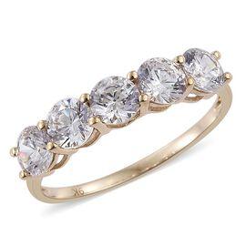 9K Y Gold (Rnd) 5 Stone Ring Made with SWAROVSKI ZIRCONIA