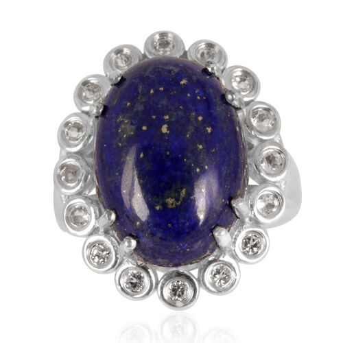 Lapis Lazuli (Ovl 16.50 Ct), White Topaz Ring in Platinum Overlay Sterling Silver 17.250 Ct.