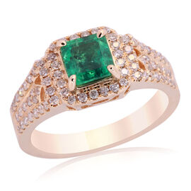 One Off Close Out Deal 14K Y Gold AAA Kagem Zambian Emerald (Oct) Diamond Ring 1.420 Ct.