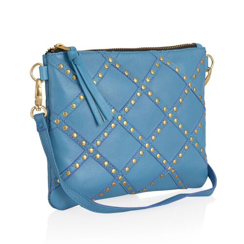 Genuine Leather Blue Colour Handbag with Removable Shoulder Strap (Size 22x17 Cm)