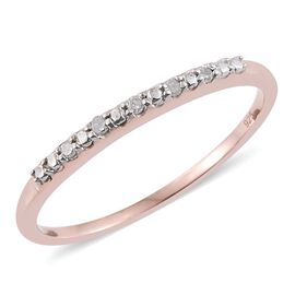 Diamond Stackable Half Eternity Ring in Rose Gold Overlay Sterling Silver