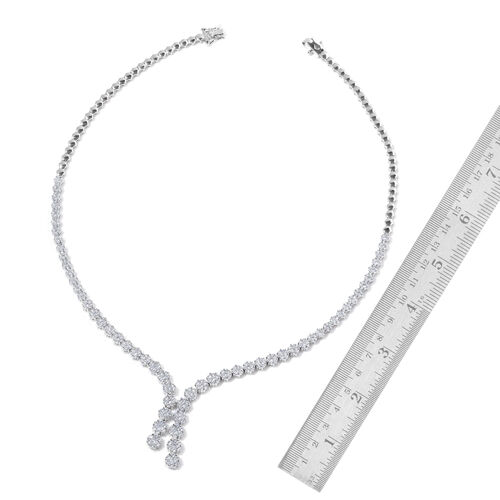 ELANZA AAA Simulated White Diamond Necklace (Size 18) in Sterling Silver